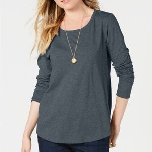 Style Co Scoop-Neck Top Charcoal Heather M
